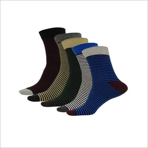 Mens Stripe Cotton Ankle Socks