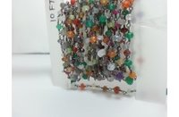 Mix Gemstone Faceted Rondelle Beads Rosary Chain 3-4mm