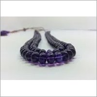 Natural African Amethyst Smooth Rondelle Beads Necklace