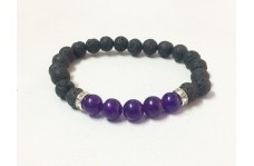 Natural Amethyst Bracelet with Lava Beads