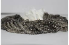 Natural Black Dot Rutilated Quartz Faceted Beads Strand 5.5-6.5mm