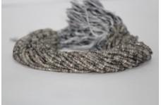 Natural Black Rutilated Quartz Faceted Rondelle Beads 3.5-4mm