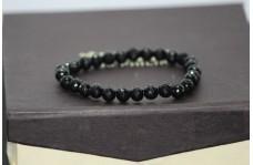 Natural Black Spinel Faceted Round Beads Bracelet