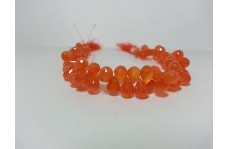 Natural Carnelian Faceted Drops Beads Strand 8-10mm