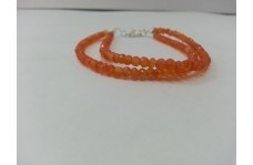 Natural Carnelian Faceted Rondelle Beads Bracelet with Silver Clasp