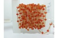 Natural Carnelian Faceted Rondelle Beads Gold Plated Rosary Chain 3.5-4.5mm