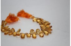 Natural Citrine Faceted Pear Briolette Beads 8