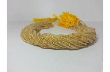 Natural Golden Rutile Micro Faceted Beads Strand 2mm