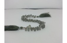 Natural Gray Moonstone Faceted Drops Beads Briolettes
