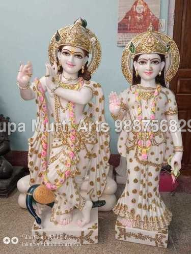 Marble Radha Krishna Standing Statue Playing Flute