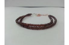 Natural Mozambique Garnet Faceted Rondelle Beads 2 Strands Bracelet