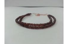 Natural Mozambique Garnet Faceted Rondelle Beads 2 Strands Bracelet
