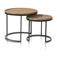 Indus Iron Wooden Side Table Set of 2