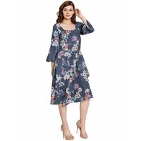 Women Floral Print Crepe Dress
