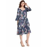 Women Floral Print Crepe Dress