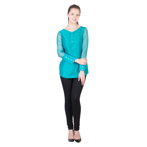 Womens Solid Turquoise Top