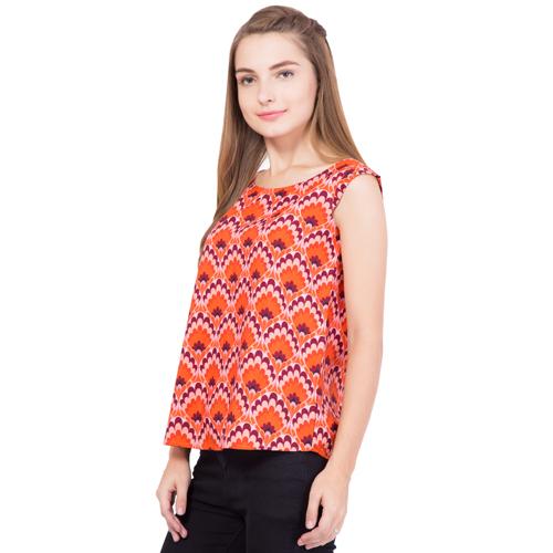 Ladies Orange Printed Top