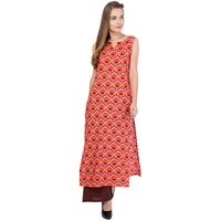 Ladies Orange Printed Kurti