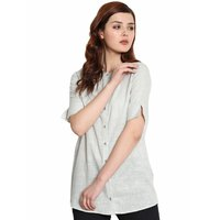 Ladies Grey Cotton Khadi Shirt