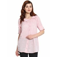 Ladies Light Pink Cotton Khadi Shirt