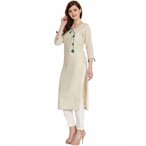 Ladies Beige Solid Cotton Khadi Kurti