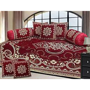Chenille Diwan Printed Bed Sheet