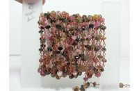 Natural Multi Tourmaline Faceted Rondelle Beads Rosary Chain 3-4mm
