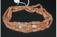 Natural Peach Moonstone Faceted Nuggets Tumble Beads Strand