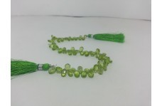 Natural Peridot Faceted Pear Briolette Beads Strand 6-7mm