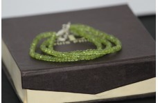 Natural Peridot Faceted Rondelle Beads 3 Strands Bracelet with Silver Chain