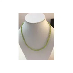 Natural Peridot Faceted Rondelle Beads Necklace with Silver Clasp