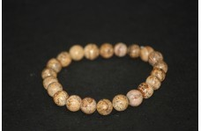 Natural Picture Jasper Smooth Round Beads Bracelet