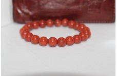 Natural Red Jasper Smooth Round Beads Bracelet 8mm