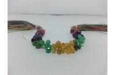 Natural Ruby Emerald Blue & Yellow Sapphire Teardrop Drops Briolette Beads
