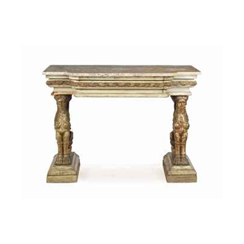 Carved Marble Top Console Table