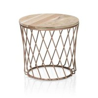 Round Top Iron Wooden Side Table