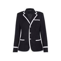 Black White Line Coat