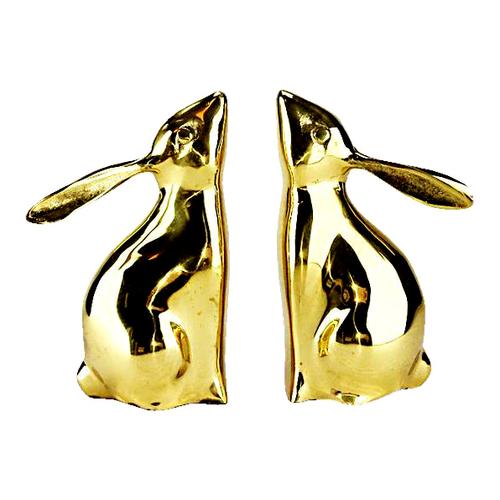 Brass Bunny Rabbit Bookends