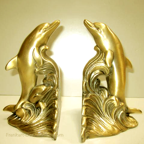Dolphins brass bookends (pair)
