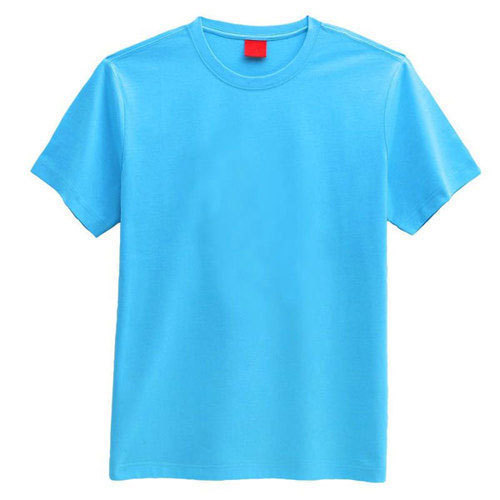 Mens Blue Plain Half Sleeves T Shirt