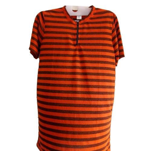 Mens Stripped Half Sleeves T Shirt