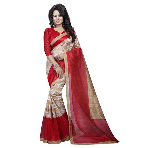 Animal Red Bhagalpuri Saree