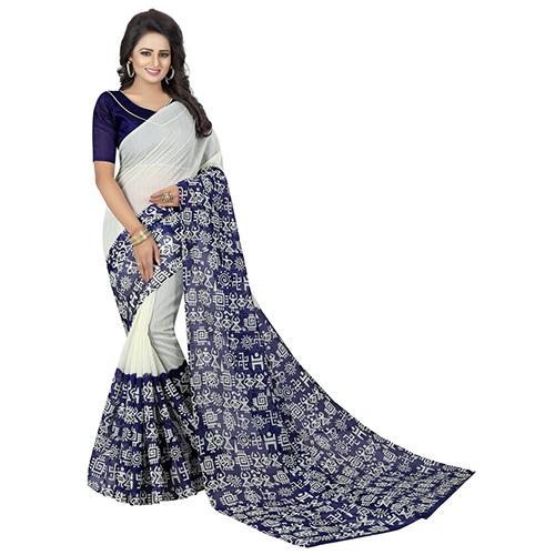Vasundhra Blue Bhagalpuri Saree