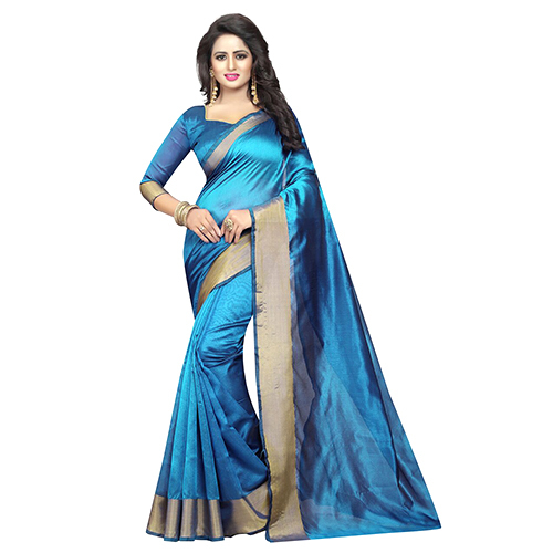 Monika Sky Blue Cotton Silk Saree