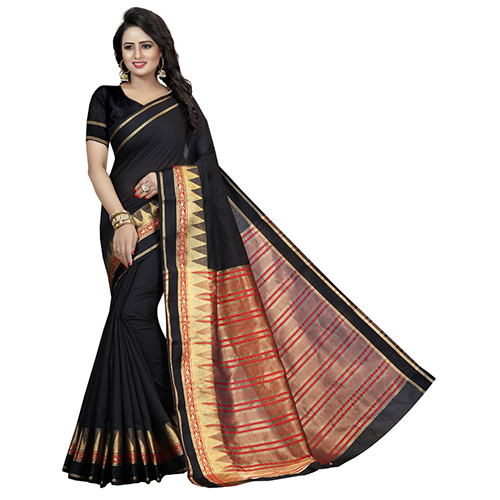 Pyramid Black Cotton Silk Saree