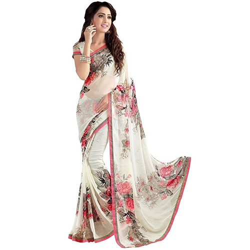 Apsara White Heavy Georgette Saree
