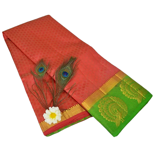 Dancing Mor Red Green Kanjivaram Saree