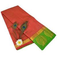 Dancing Mor Red Green Kanjivaram Saree