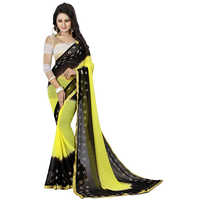 Black Yellow Bandhani Chiffon Saree
