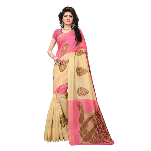 Crystal Pink Jari Vasundra Silk Saree